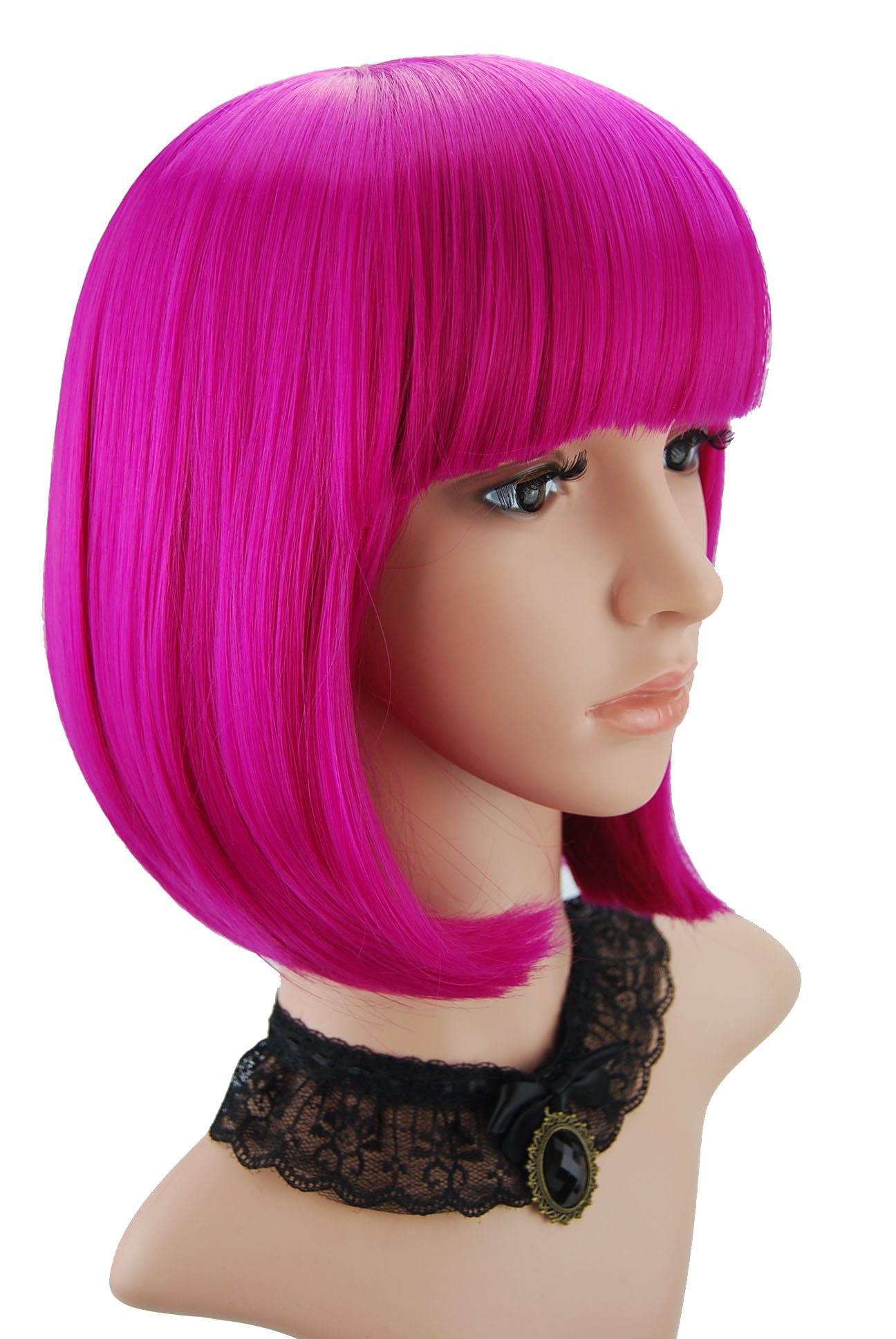 eNilecor Short Bob Hair Wigs 12'' Straight with Flat Bangs Synthetic Colorful Cosplay Daily Party Wig for Women Natural As Real Hair+ Free Wig Cap (Hot Pink)