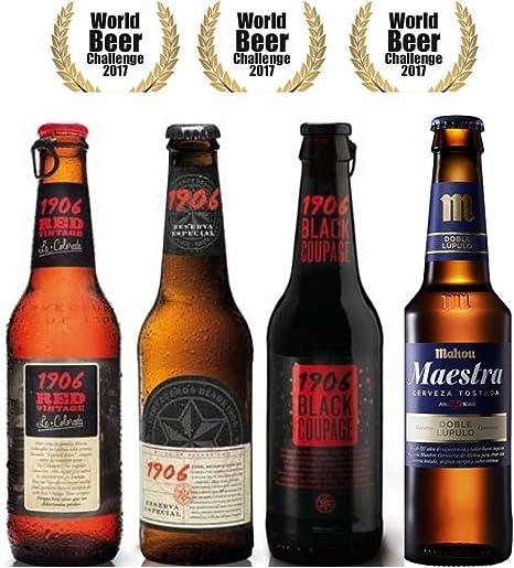Pack Cervezas Degustación World Beer Challenge 4 cervezas. Mahou Maestra 33 cl, Estrella Galicia 1906 Reserva