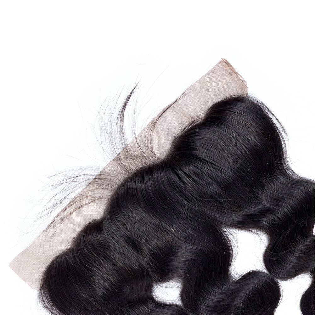 Amella Hair 10A Brazilian Body Wave Frontal(16 18 20+14 Frontal) Bundles with Frontal Ear to Ear Lace Frontal Closure with Bundles Brazilian Body Wave Frontal with Baby Hair Natural Black Color by Amella hair (Image #9)