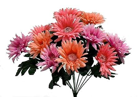 Gerbera Daisy Bush Coral Reef Pink Silk Wedding Flowers Bouquets