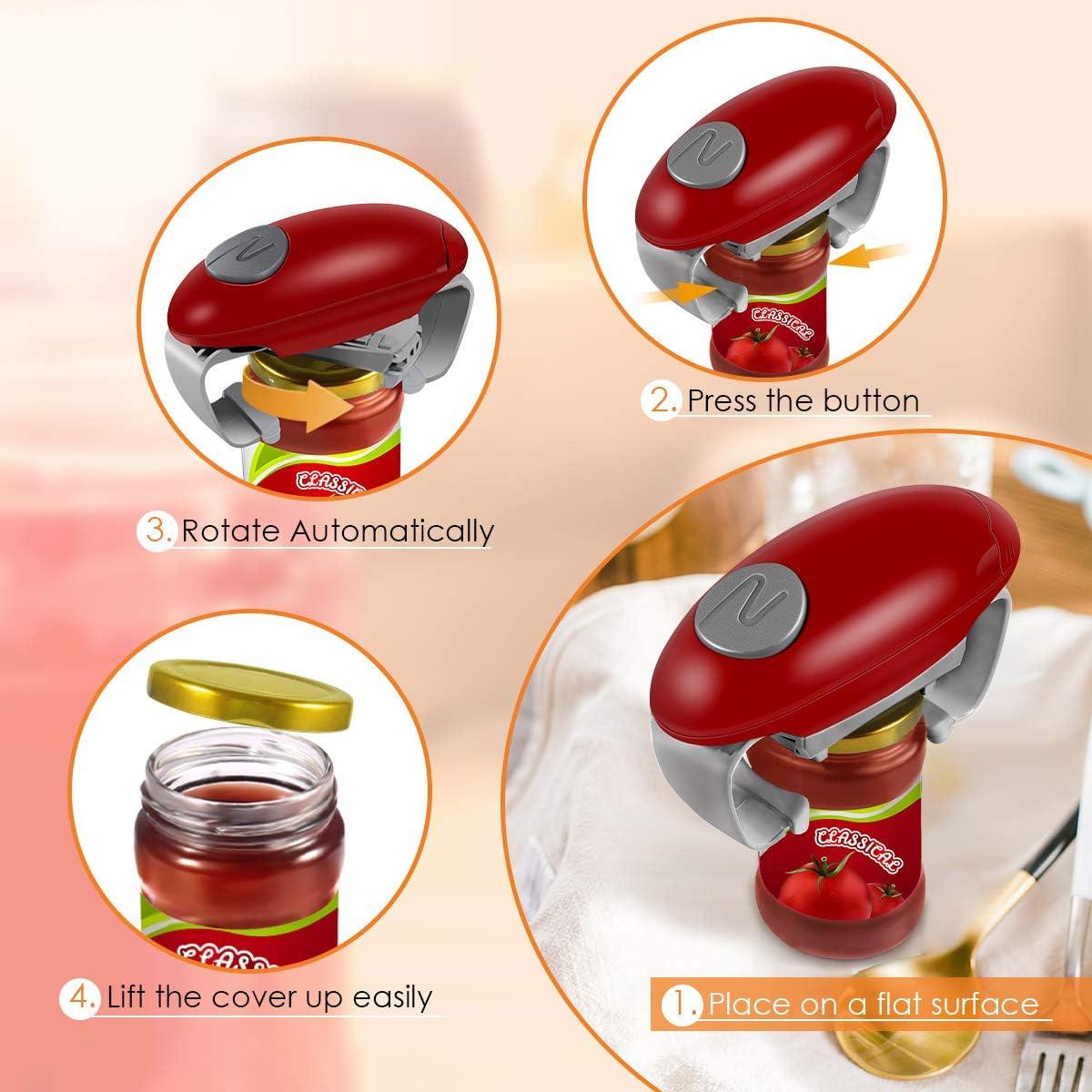 Wine Red Hands Free Bottle Opener Restaurant Automatic Jar Opener for Seniors with Arthritis Electric Jar Opener