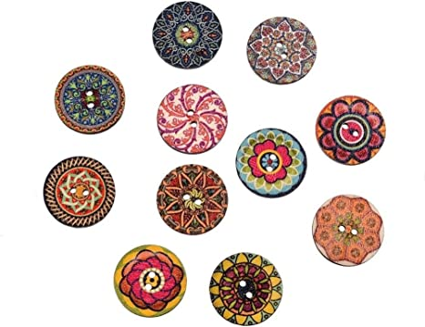 50pcs Colorful Handmade Tag Label Wood Buttons 2 Holes for Sewing Scrapbook