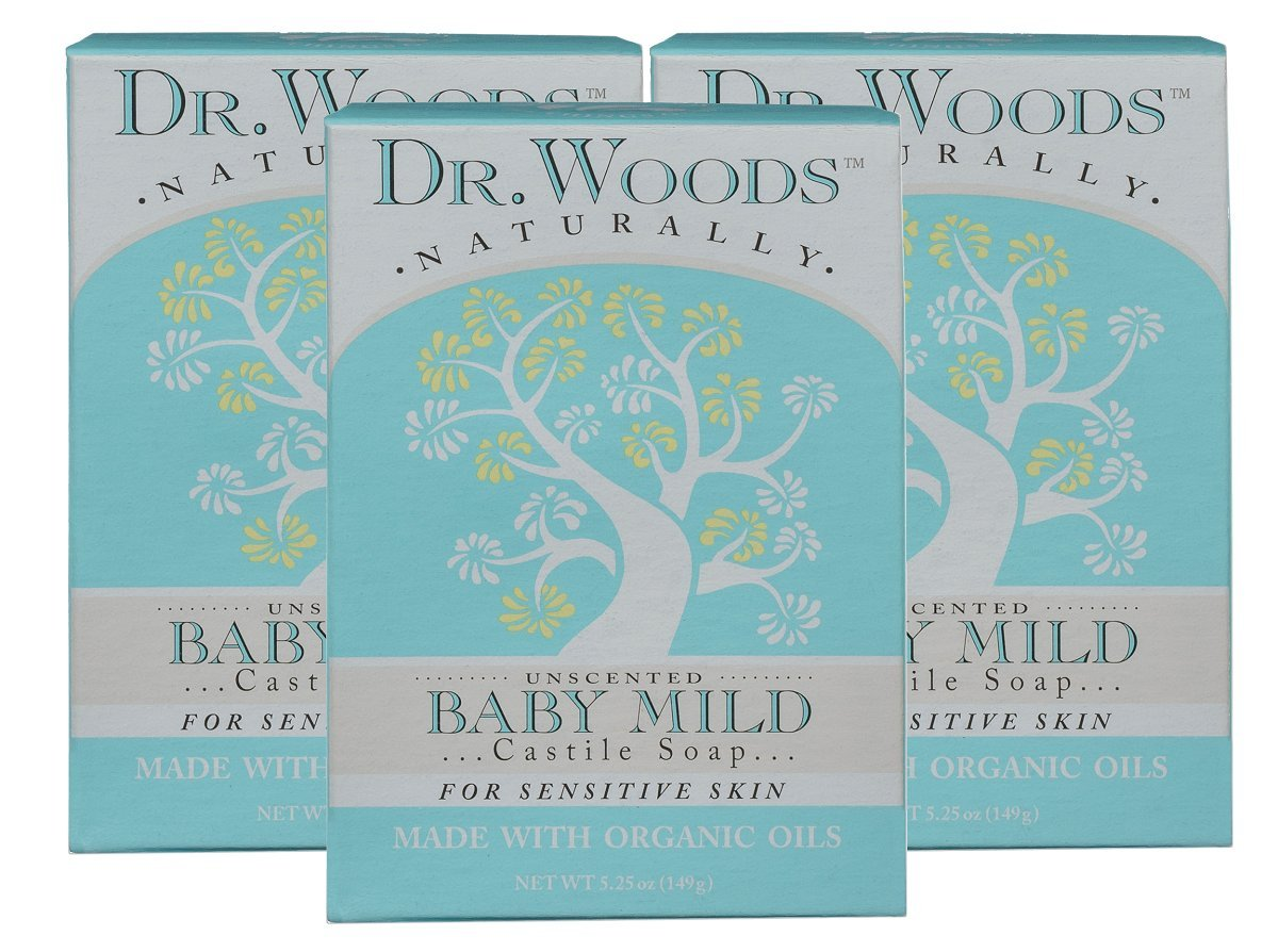 Dr. Woods Unscented Baby Mild Bar Soap with Organic Shea Butter, 5.25 oz (Pack of 3)