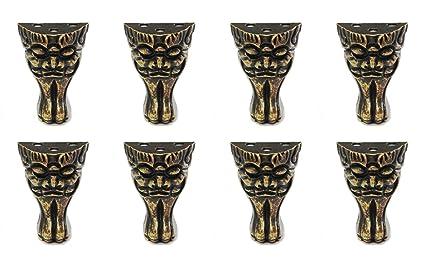 Actopus 8PCS Retro Face Jewelry Box Feet Brass Corner Antique Furniture Legs  Decorative - Actopus 8PCS Retro Face Jewelry Box Feet Brass Corner Antique