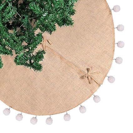 aytai burlap christmas tree skirt 48 inches white pompom xmas tree skirt for holiday christmas decorations - Burlap Christmas Tree Skirt