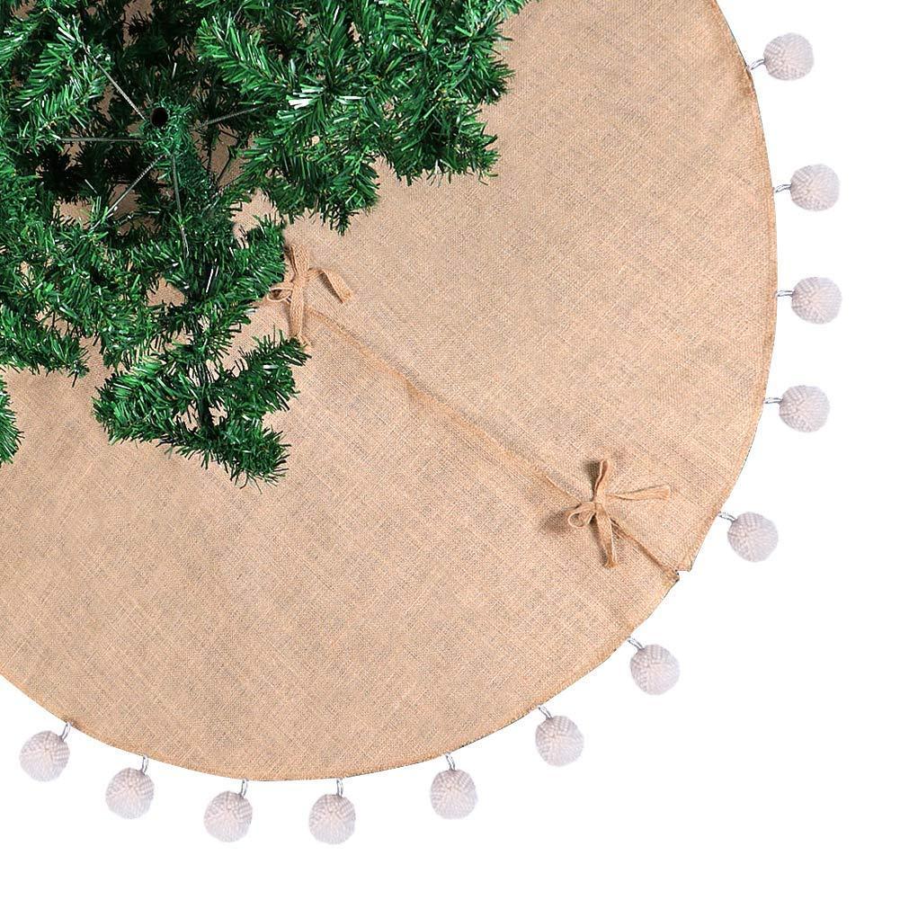 Aytai Burlap Christmas Tree Skirt 48 inches White Pompom Xmas Tree Skirt for Holiday Christmas Decorations Indoor Outdoor