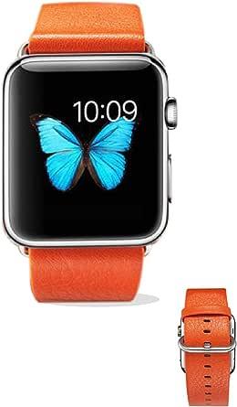 ساعة يد بسوار جلدي من تراندز لابل 42 ملم - برتقالي