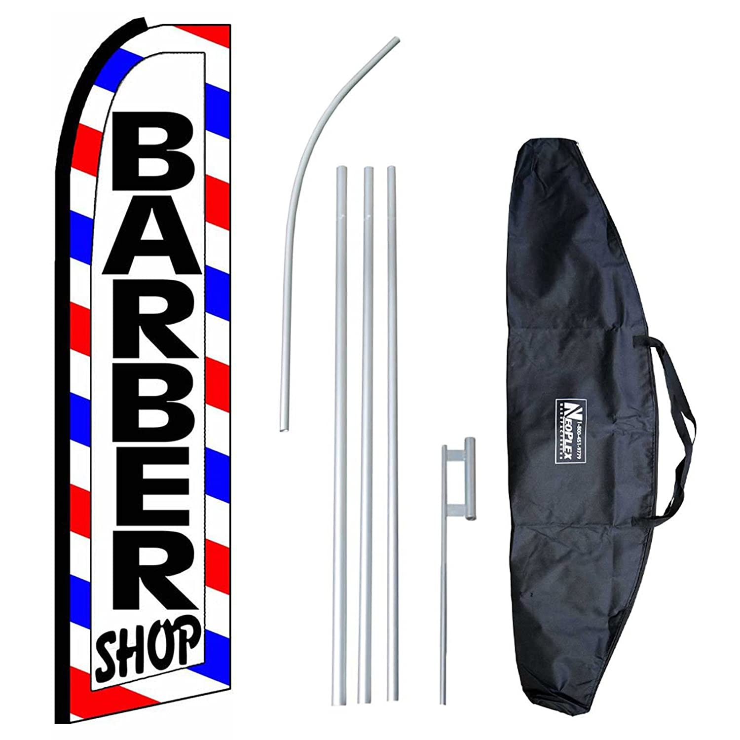 """Barber Shop (Extra Wide)"" 12-foot Swooper Feather Flag and Case Complete Set...includes 12-foot Flag, 15-foot Pole, Ground Spike, and Carrying/Storage Case"