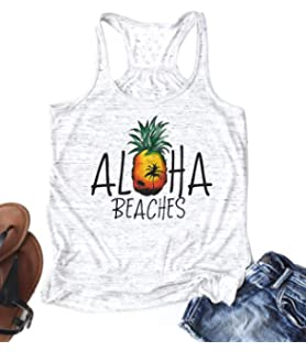 d63d8dc77ad46 Cute Pineapple Aloha Beaches Racerback Tank Tops Women Funny Hawaiian Beach  Party Shirts Letter Print Top