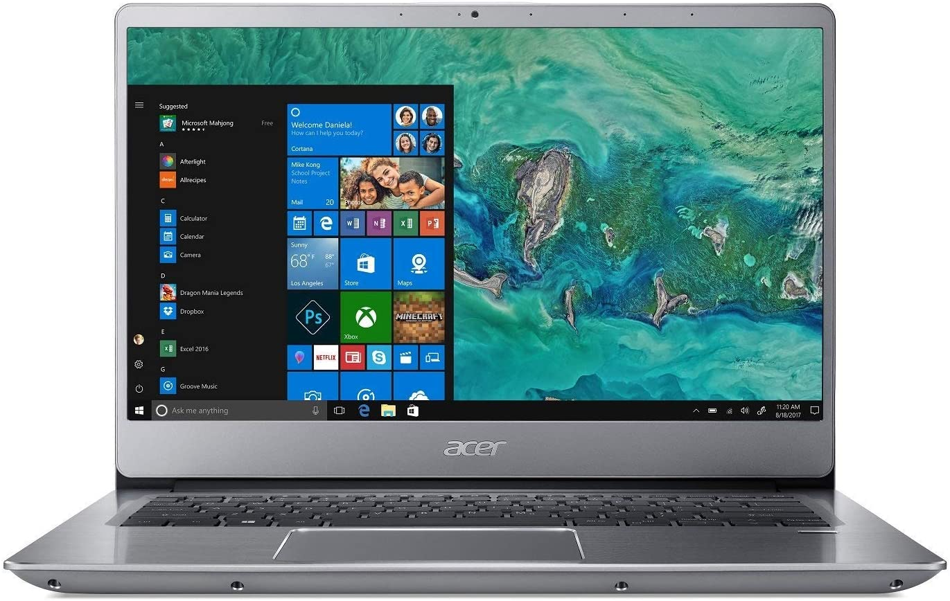 "Premium Acer Swift 3 Laptop, 14"" LED-Backlit Widescreen FHD IPS Display, Intel Core i5-8250U Processor up to 3.4GHz (>i7-7500u), 8 GB DDR4, 256 GB SSD, Fingerprint Reader, Win10, Silver"