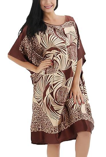 Pijama Mujer Verano Corto Camison Manga Corta Cuello Redondo Vestido Ropa Fiesta Modernas Vintage Hippies Etnico