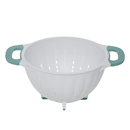 Amazon.com: KitchenAid Pasta Strainer/Colander, 5-Quart, White/Aqua on farberware colander, red metal colander, alessi colander, ceramic colander, oxo colander, wearever colander, ikea colander, rsvp colander, expandable colander, red enamel colander, tupperware colander, progressive colander, cuisinart colander, target colander, graniteware colander, paula deen colander, rubbermaid colander,
