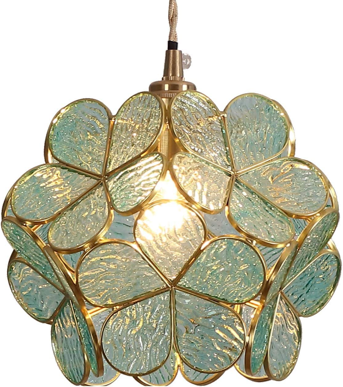 Bieye L10743 Flower Petals Tiffany Style Stained Glass Ceiling Pendant Light with 8-inch Wide Lampshade Light Blue