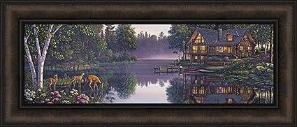 Amazon com: Sweet Serenity by Kim Norlien 12x28 Log Cabin Home Deer