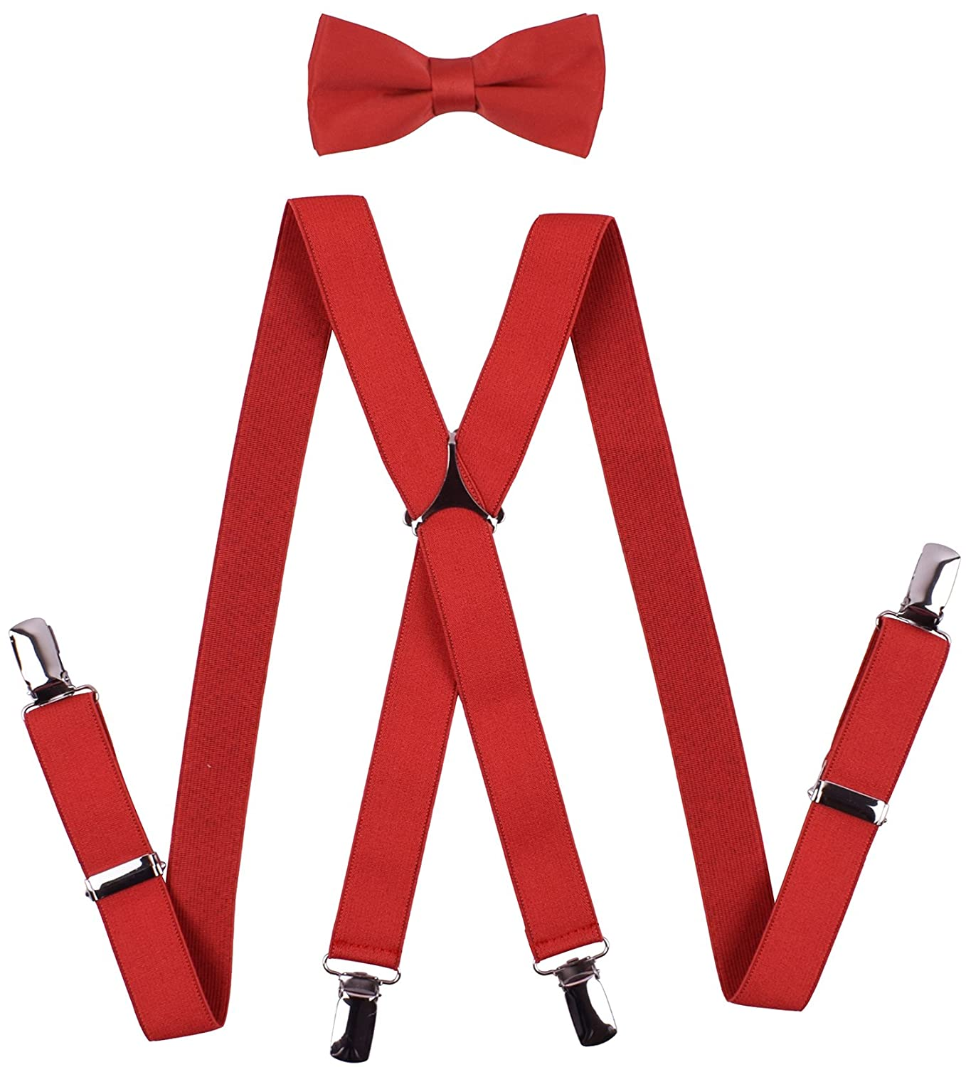 BODY STRENTH Mens Suspenders and Bow Tie Set X Shape Adjustable