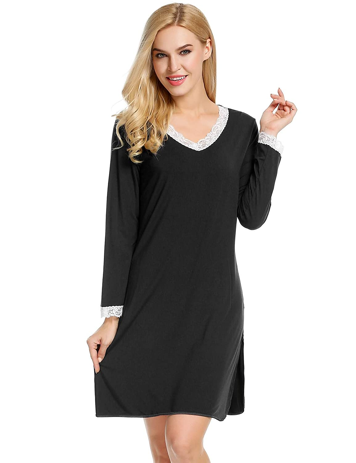 Ekouaer Women's Nightshirts Viscose Chemises Slip Long Nightgown Sleepwear S-XXL XL) EKK005061_B_XL#