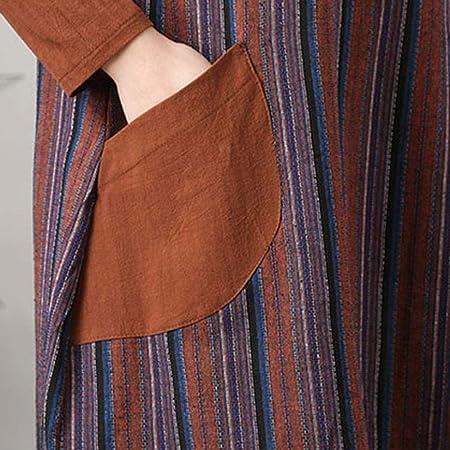 Qiusa Vestido de Bolsillo de Manga Larga a Rayas de Lino clásico Retro de Las Mujeres (Color : Café, tamaño : XL): Amazon.es: Hogar
