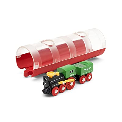 BRIO World 33892 - Steam Train & Tunnel - 3 Piece Wooden Toy Train Set for Kids Age 3 and Up,Multi: Toys & Games