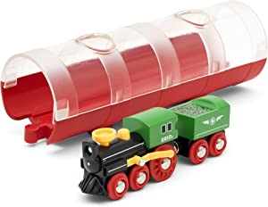 BRIO World 33892 - Steam Train & Tunnel - 3 Piece Wooden Toy Train Set for Kids Age 3 and Up,Multi