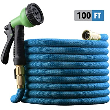 "EnerPlex 100 ft Non-Kink Expandable Garden Hose, Upgraded 10-Pattern Spray Nozzle Included, 3/4"" Brass Fittings with Shutoff Valve, Best 100' Foot Garden Hose - 2 Year Warranty - 2019 Model - Blue"