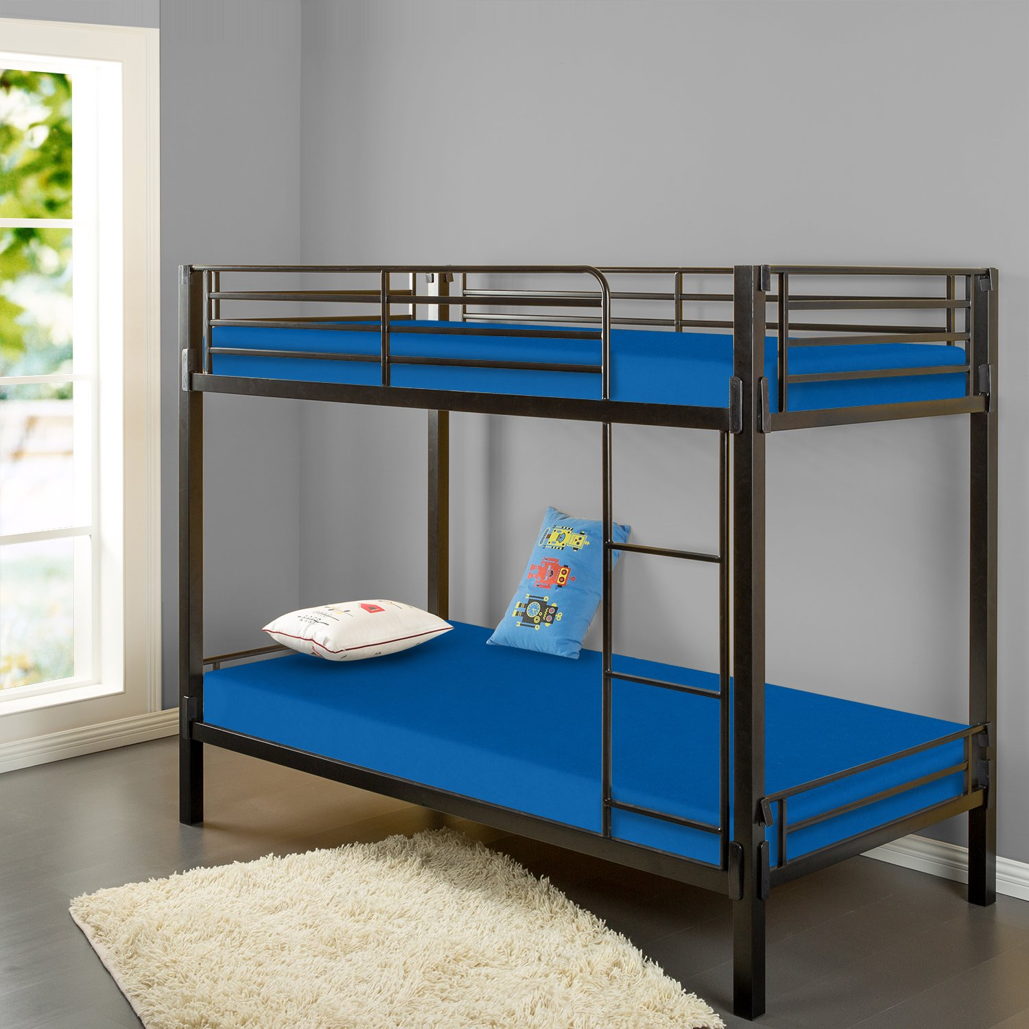 amazoncom zinus sleep master memory foam 5 inch bunk bed trundle bed day bed mattress twin blue kitchen u0026 dining