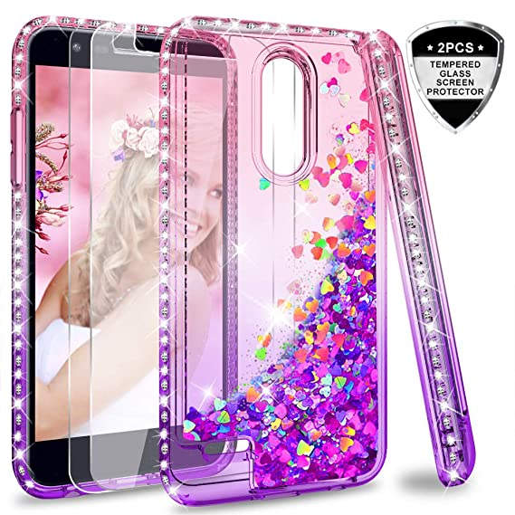 LG K20 V Case,LG K20 Plus/Harmony Case with Tempered Glass Screen Protector  [2 Pack] for Girls Women,LeYi Glitter Diamond Liquid Quicksand Flowing