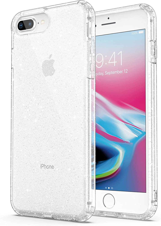ULAK Clear Glitter Case for iPhone 8 Plus, iPhone 7 Plus Case Clear, Slim Fit Hybrid Shock Absorption TPU Bumper Cover for iPhone 7 Plus /iPhone 8 ...