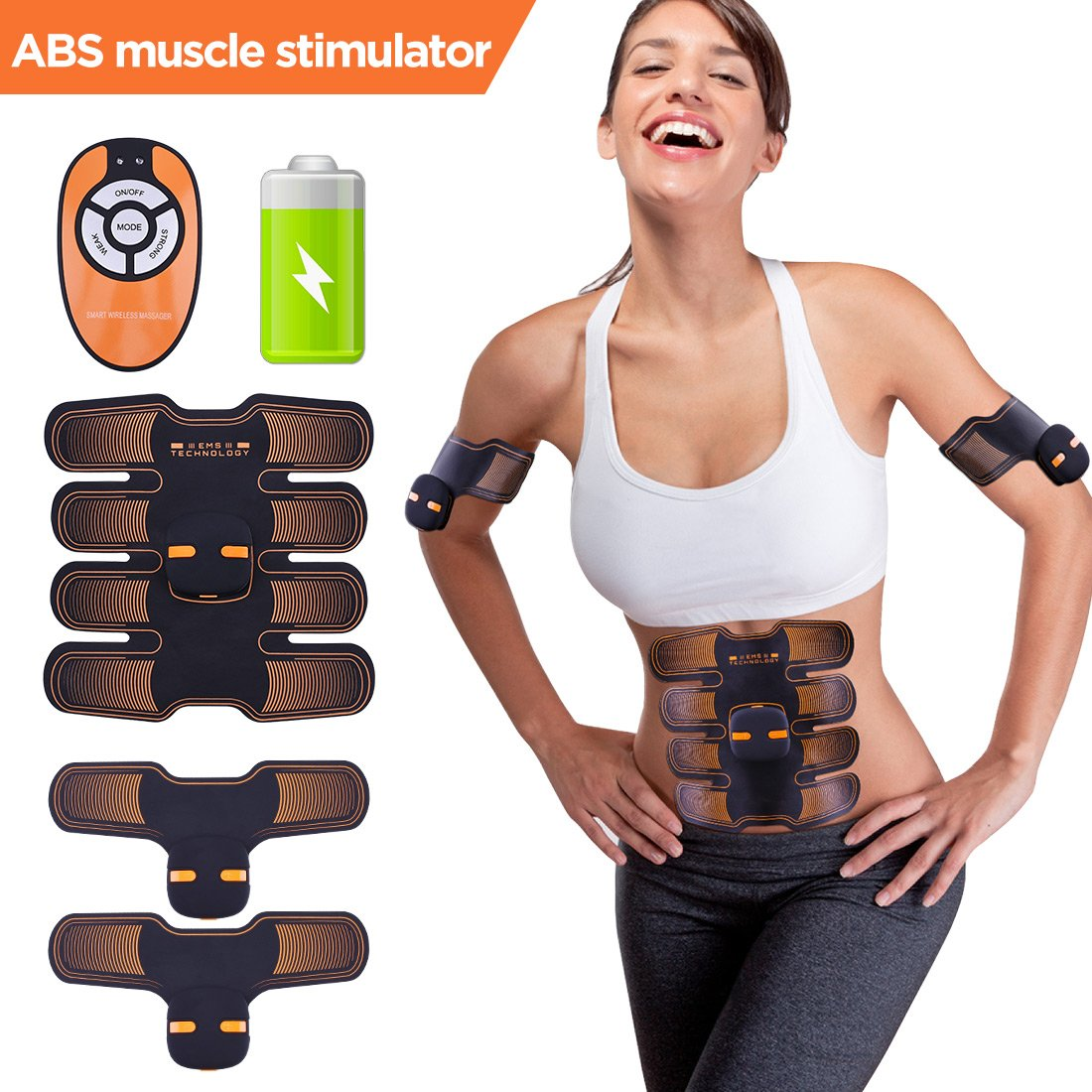 LunaLife Abs Stimulation Belt Magnetic Waves Portable Muscle Trainer Professional Muscle Toner Workouts Home Office Fitness Equipment for Man and Women by LunaLife