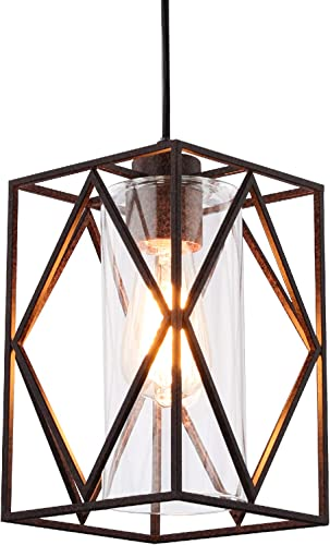 Farmhouse Swag Chandeliers Rusty Pendant Lighting Vintage Square Hanging Lamps Iron Industrial Small Ceiling Light