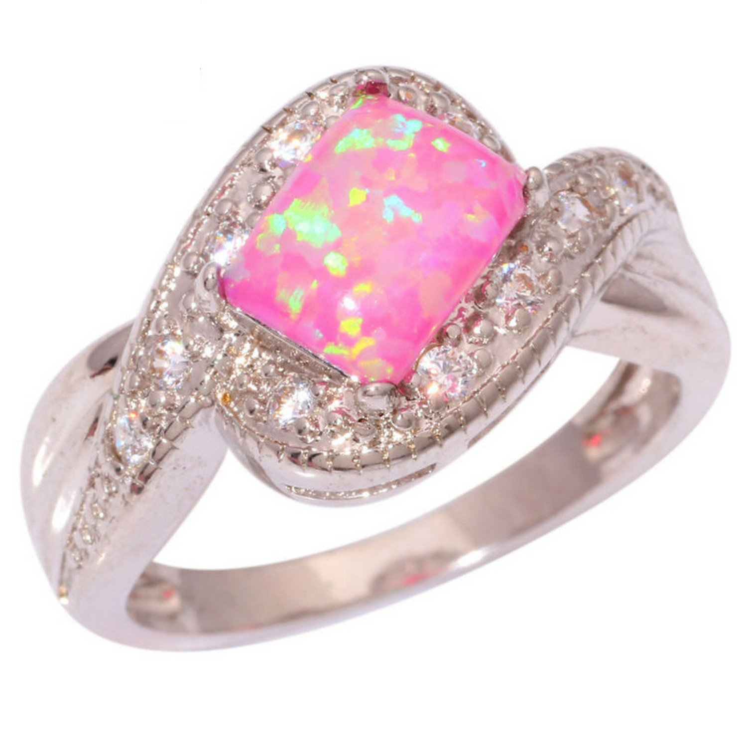 Amazon.com: Cherryn Created Pink Opal Cubic Zirconia promise rings ...