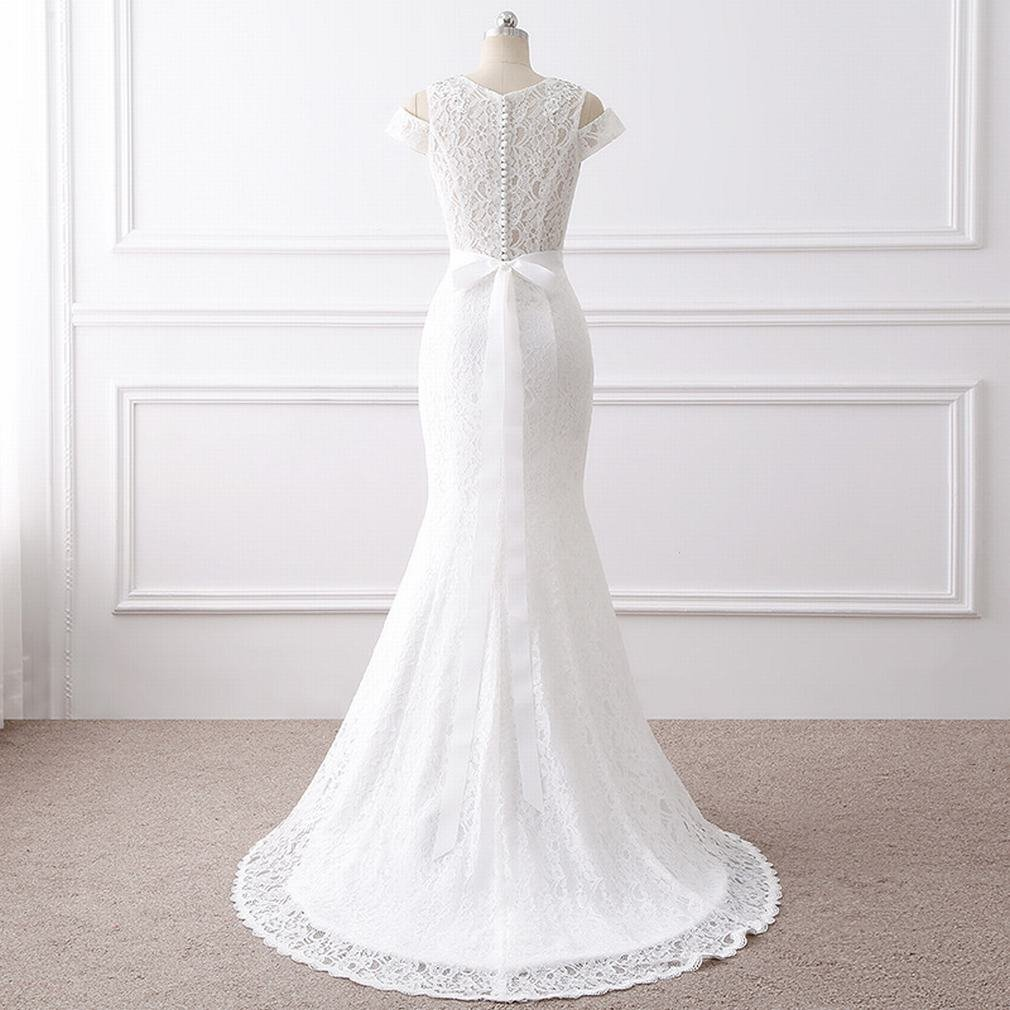Xp Slim White Simple Atmosphere Long Paragraph Tail Wedding Dress