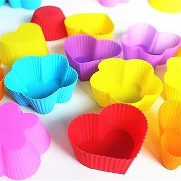 Patrón de forma de corazón 7 cm DIY Moldes de Silicona Cake/pie/Pudding/Chocolate/Envoltorios para cupcakes (32 unidades)/molde Bakeware/set: Amazon.es: ...