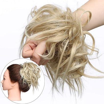 Extension Chignon Elastico Spettinato Con Capelli Ricci Finti Xxl Hair Magic Bun 45g Messy Curly Coda Di Cavallo Treccia Carina Biondo Cenere Mix