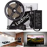 LEDMO® Weiß LED stripes Streifen 5M,band lichtband mit 600 LEDs (SMD2835) 9000lm, inkl. 12V 60W Netzteil für den Innenraum