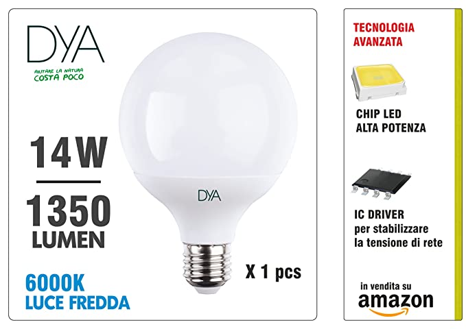Dya Bombilla LED Globo, 14W 1350 lúmenes, luz fría 6000 K °