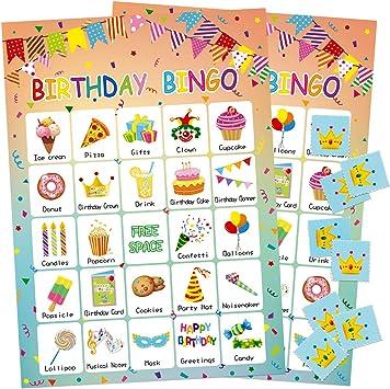 Amazon.com: Juego de bingo de cumpleaños 24 jugadores para ...