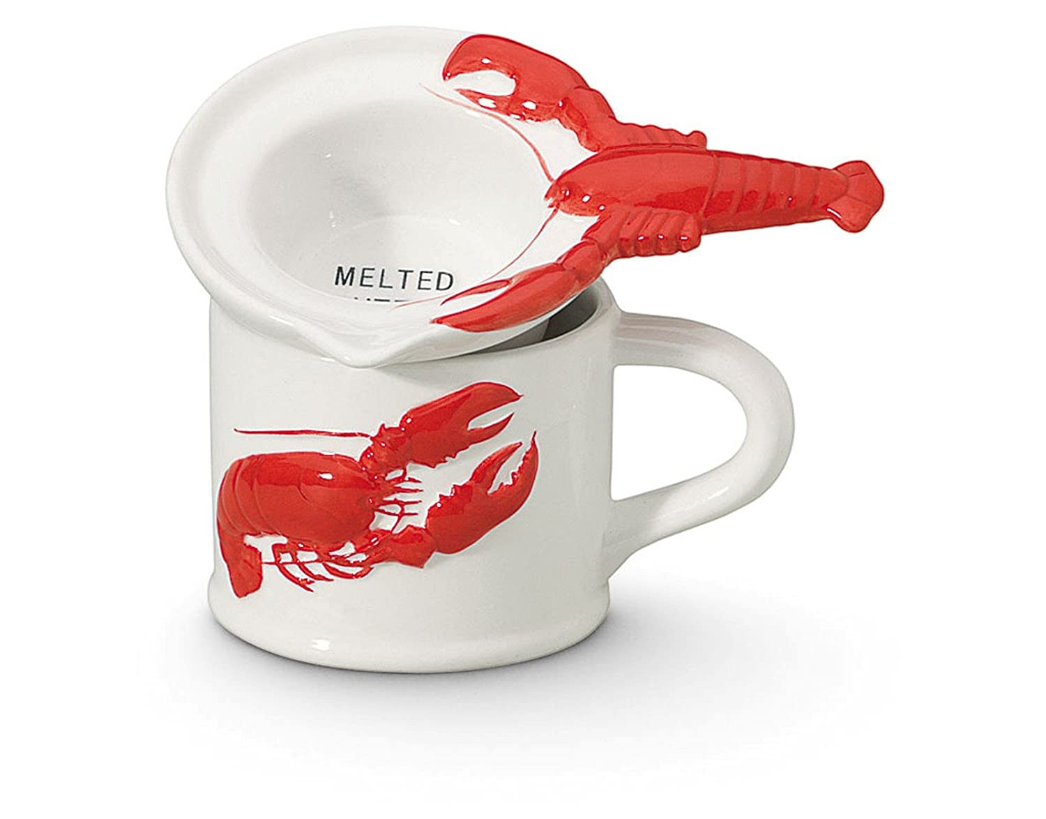 Coastal Nautical Red and White Lobster Butter Warmer Pot Set Cape Shore 20-028