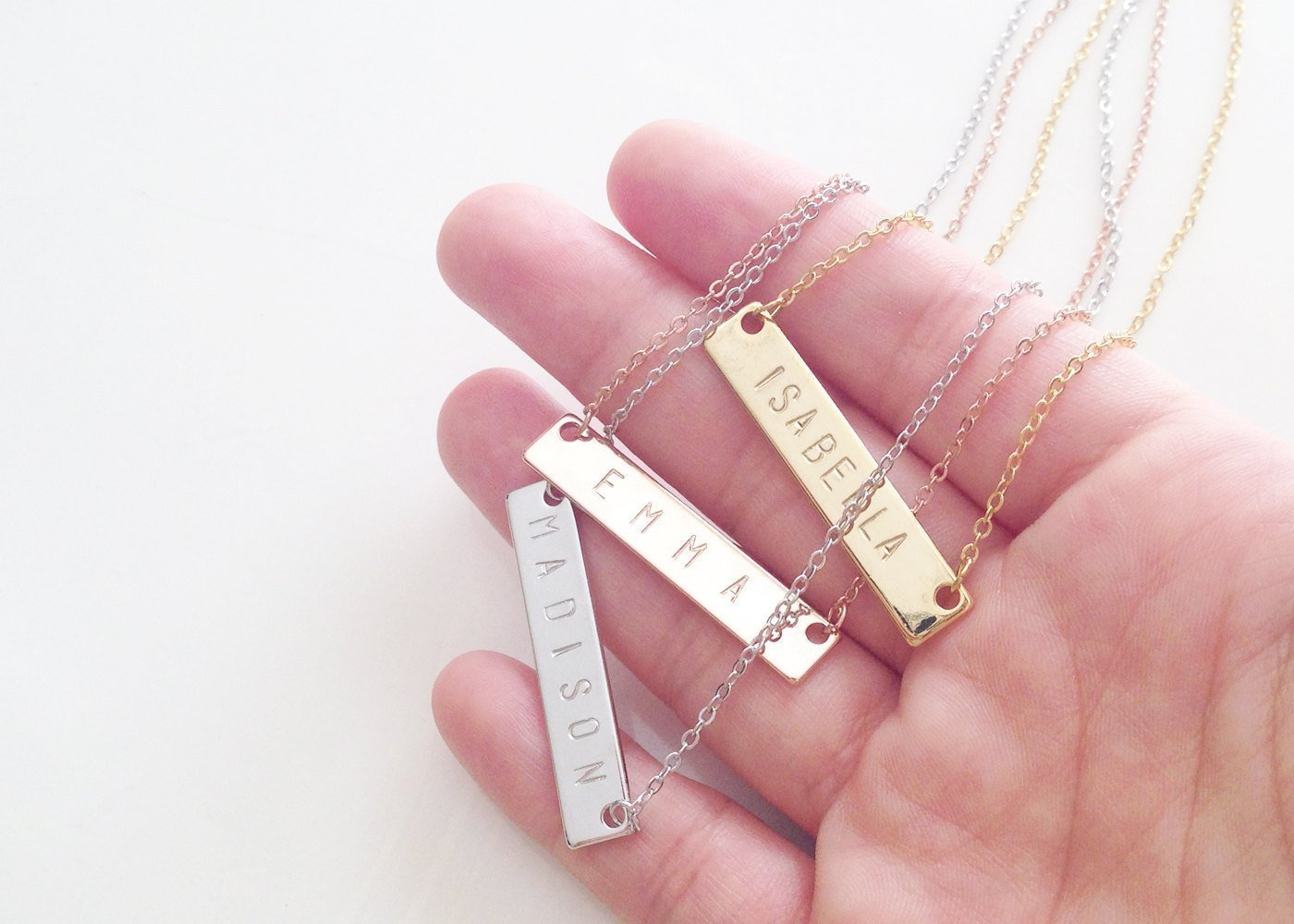 amazon com personalized necklace name plate bar gold necklace