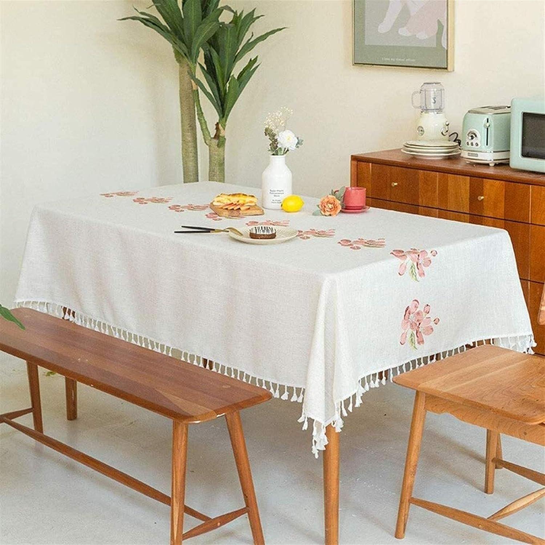 Elegante y lujoso Tela de mesa suave de algodón cuadrado mantel de lino bordado cubierta de mesa lavable con borla decoración de franja impermeable para cocina comedor mesa de mesa decoración rectangu