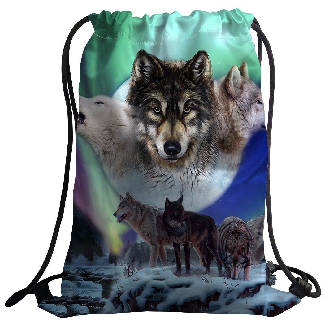 sxchenジムバッグ袋巾着スポーツバックパックWild Animals Wolves Aurora B07BGW6WNF