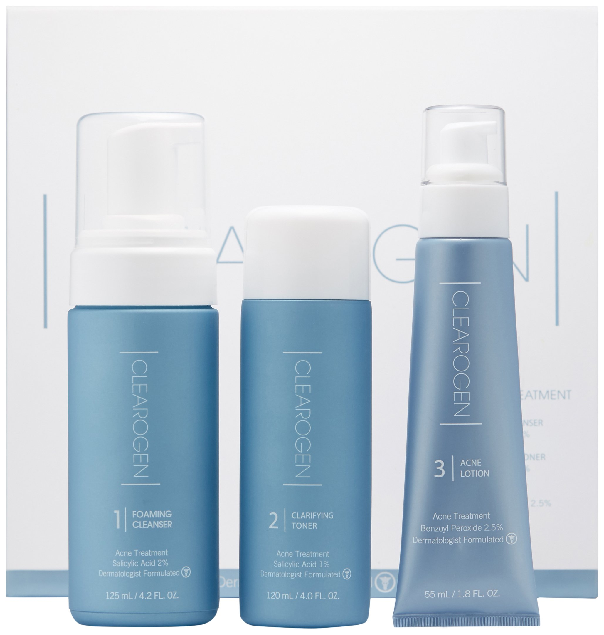 Clearogen Hormonal Acne Solution Natural Anti-DHT Ingredients Deluxe Set Original Formula Benzoyl Peroxide – 2 month supply 3 piece set