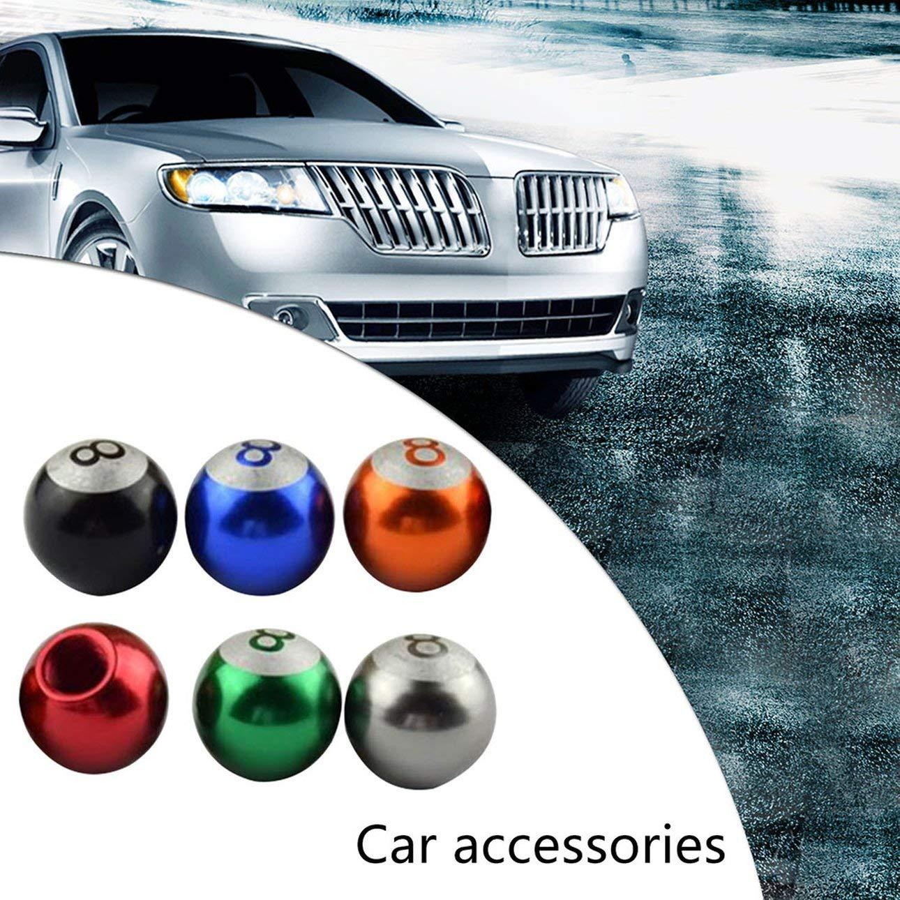 Black 4PCS//Set Fashionable Design Metal Billiards Ball Style Car Valve Stem Caps Tire Air Covers Caps for Motorcycle Car Truck