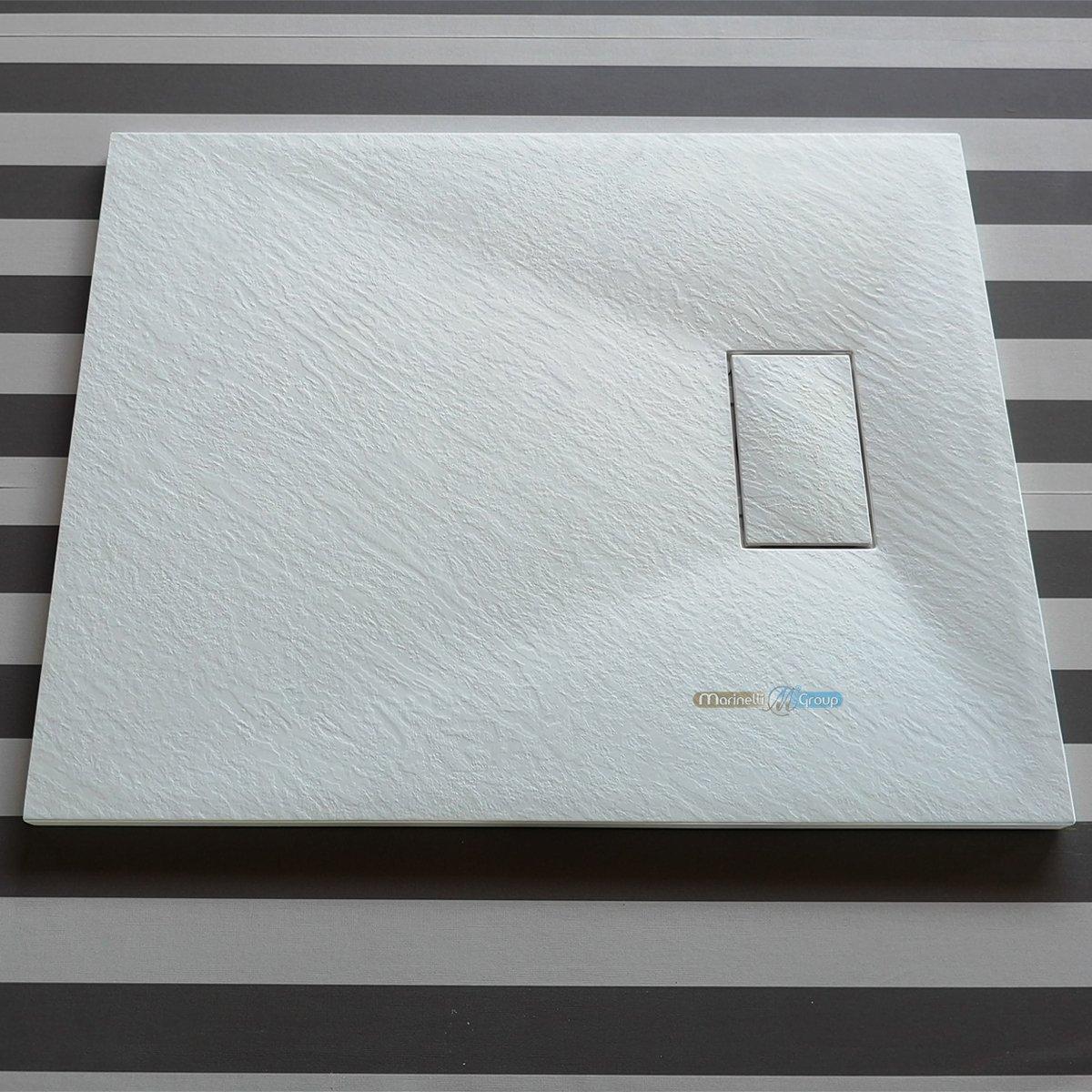 Piatto doccia effetto pietra ardesia stone smc BEIGE BIANCO NERO 70 80 90 100 120 140 160 cm piletta inclusa. Euclide (80x120 cm, Beige) MarinelliGroup