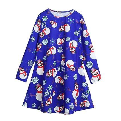 Kid Baby Girl Christmas Snowman Long Sleeve Party Princess Dress