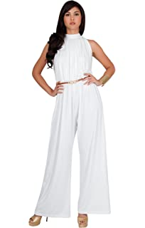 b7eb49286e5 Koh Koh Womens Sexy Sleeveless Wide Leg Pants Cocktail Pantsuit Jumpsuit  Romper