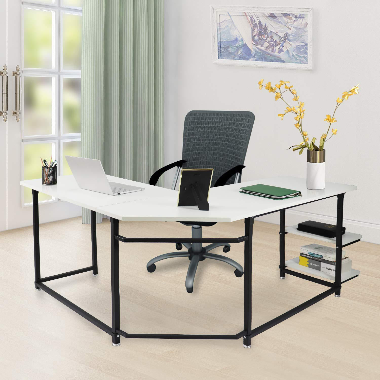 Sigetree modern l shaped desk corner computer desk pc laptop table wood workstation home office furniturewith reversible and adjustable bookshelves cpu