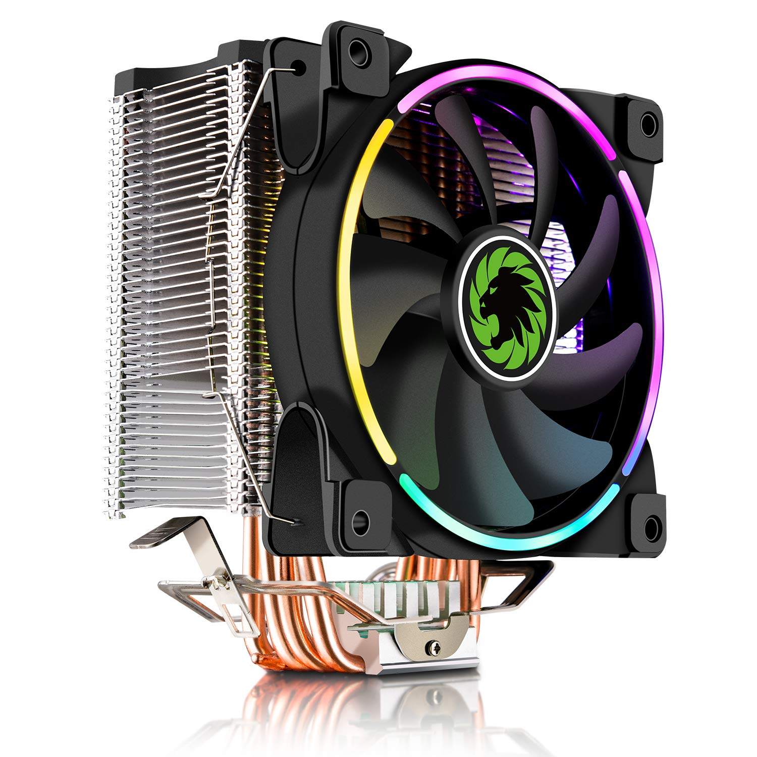 CPU Cooler, 120mm Addressable RGB PWM Fan with 4 Copper Heatpipes, GAMEMAX GAMMA-500-RAINBOW by GameMax