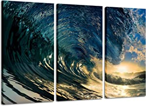Ocean Wave Picture Wall Art: Blue Seascape Painting Print on Canvas Artwork for Bedroom (26'' x 16'' x 3 Panels)