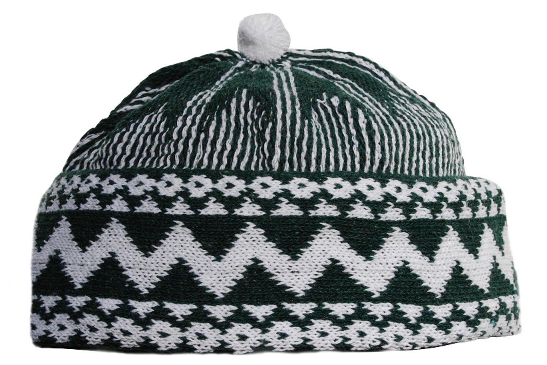 Amazon Warm Dark Green Zigzag Design Muslim Beanie Kufi Hat