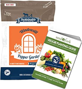 Hot and Sweet Pepper Seeds Assortment & Growing Book - 10 Varieties of Non-GMO Pepper Garden Seeds for Planting - Includes Early Jalapeno, Poblano, Sweet Banana, Tabasco, Ghost Pepper Seeds & More